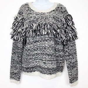 BANANA REPUBLIC black cream fring sweater NWT